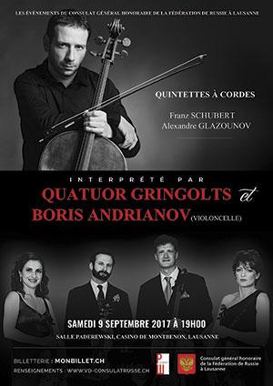 Affiche de l'évènement Franz Schubert et Alexandre Glazounov – Quatuor Gringolts & Boris Andrianov