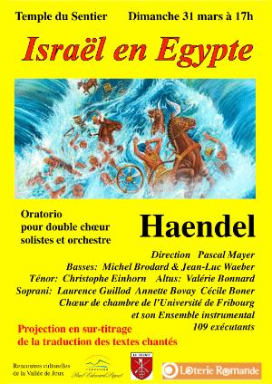Affiche de l'évènement Rencontres culturelles de la Vallée de Joux – Haendel, Israël en Égypte
