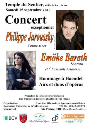 Affiche de l'évènement Rencontres culturelles de la Vallée de Joux – Philippe Jaroussky & Emöke Barath