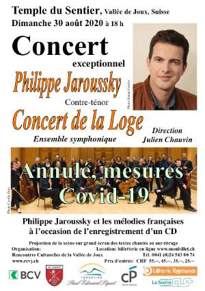 Affiche de l'évènement Rencontres culturelles de la Vallée de Joux – Philippe Jaroussky