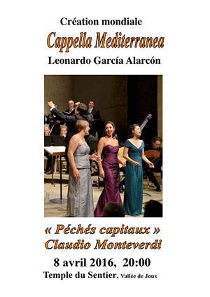 Affiche de l'évènement Cappella Mediterranea, Leonardo García Alarcón – Claudio Monteverdi, Péchés capitaux