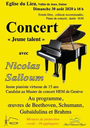 Affiche de l'évènement Rencontres culturelles de la Vallée de Joux – Récital de piano avec Nicolas Salloum