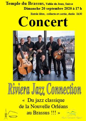 Affiche de l'évènement Rencontres culturelles de la Vallée de Joux – Riviera Jazz Connection