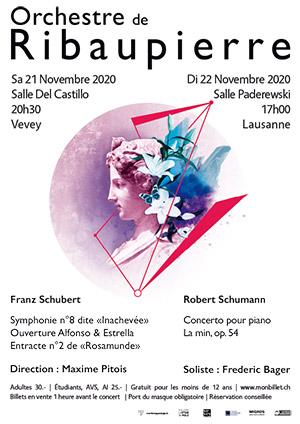 Affiche de l'évènement Schumann & Schubert – Concert de l'Orchestre de Ribaupierre