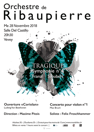 Affiche de l'évènement Orchestre de Ribaupierre – Tragique - Symphonie no 4 de Franz Schubert