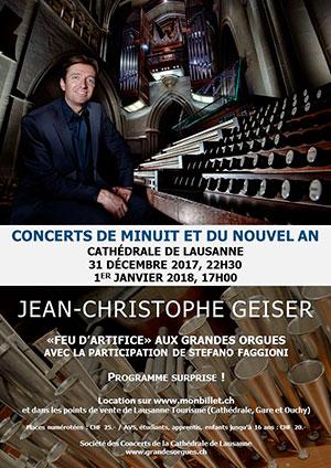 Affiche de l'évènement «Feu d'artifice» aux grandes orgues – Concert du Nouvel An