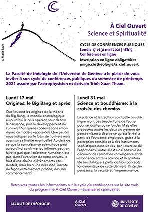 Affiche de l'évènement À Ciel Ouvert - Faculté de théologie UNIGE – Origines: Le Big Bang et après