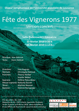 Affiche de l'évènement Choeur symphonique de l'UPL – Fête des Vignerons 1977