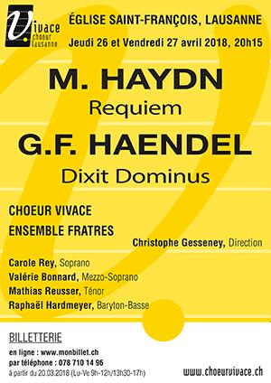 Affiche de l'évènement Chœur Vivace et Ensemble Fratres – M. Haydn, Requiem, G.F. Haendel, Dixit Dominus