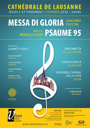 Affiche de l'évènement Chœur Vivace, Ensemble Choral de la Côte, Sinfonietta de Lausanne – Puccini, Messa di Gloria – Mendelssohn, Psaume 95