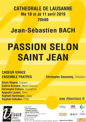 Affiche de l'évènement Chœur Vivace et Ensemble Fratres – Passion selon saint Jean, Jean-Sébastien Bach