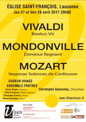 Affiche de l'évènement Chœur Vivace – Vivaldi, Mondonville & Mozart