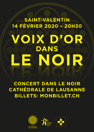Affiche de l'évènement Concert de la Saint-Valentin en faveur des enfants du Liban – Des voix d'Or dans le Noir